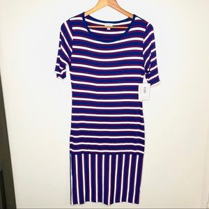 LulaRoe Julia Striped Patriotic Dress NWT